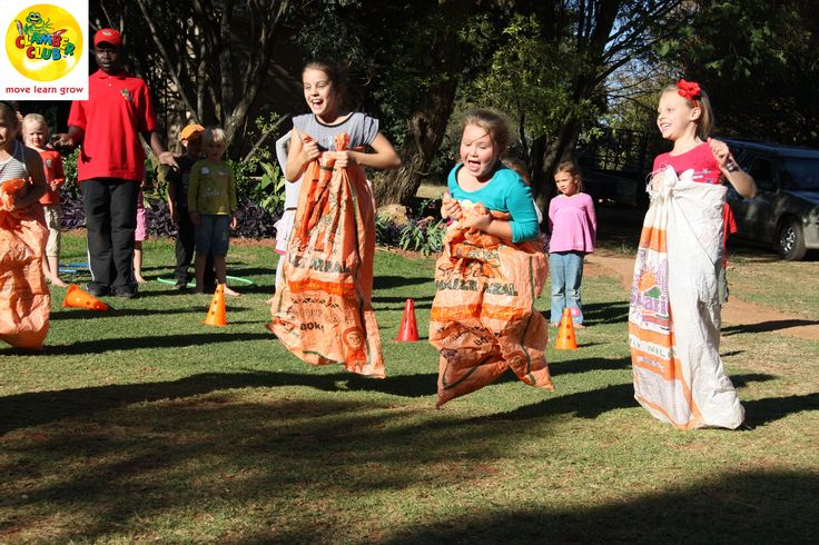 """Potato Sack Race 1) Divide your group into teams of 2 or 4. 2) Create a start and finish line using cones.  3) Have the first person of each team or individual player get inside the potato sack.  4) On """"Go!"""" they will hop from the start line, to the cone, and back to the start line to complete the race. 5) If you are playing with teams, the 1st person will hurry out of the sack and the next person on their team will jump in and continue the race. 6) The fastest hopping team wins the race!"""