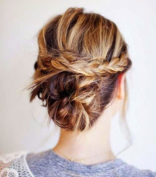 Short Curled Hairstyle with Braid Half Updo Cool-Updo-for-Short-