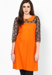 Aks Orange Net Kurti Online Shopping Store 499