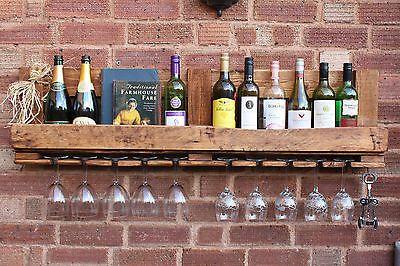 Wine & Glass Rack - Wooden, Rustic, Shabby Chic, Reclaimed, Pallet, Pine | eBay