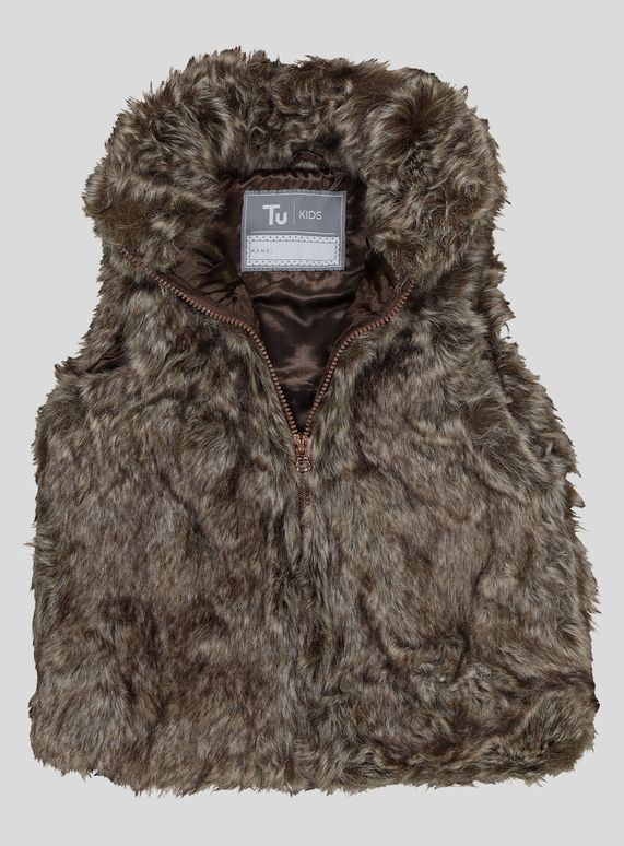 9c4347e705ed Brown Faux Fur Gilet (3-14 years) from Tu at Sainsbury s ! Your ...