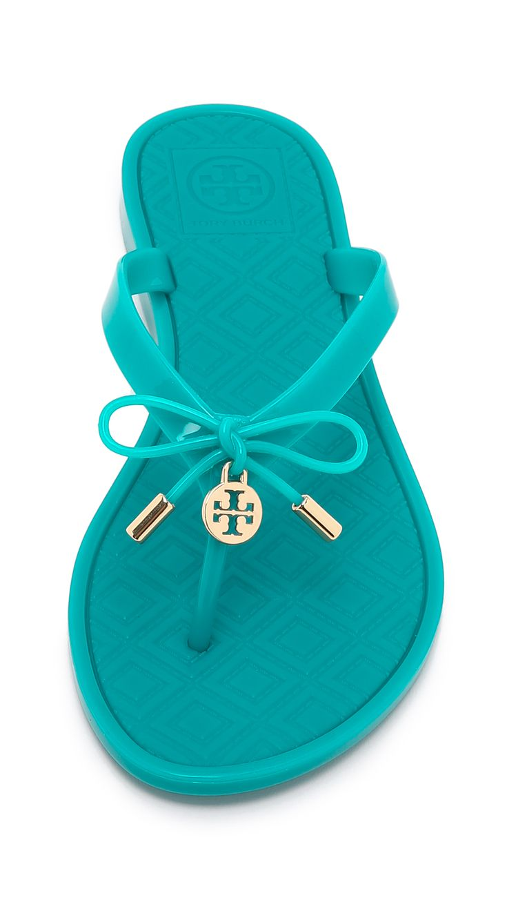 Tory Burch Turquoise Jelly Bow Thong Sandals