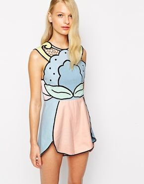In love with this Alice McCall Playsuit with Cut Out Detail in Pastel Colours
