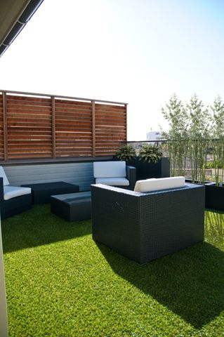 Astro turf terrace in the Andy Warhol suite at Villa Cosy, in Bordeaux. Book now with Decanter Tours.
