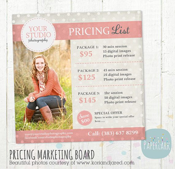 Photography Pricing Packages - Marketing Board - Photoshop ...