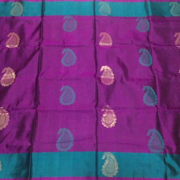 Buy KSS6100009-THAMBOORI's Handwoven Soft Kanchivaram-Purple teal blue, 800g online - Handwoven Kanchivarams,Soft Silks, Silk Cottons and Tussars!