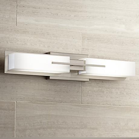 "Possini Euro Midtown 23 1/2""W Satin Nickel LED Bath Light - 2x8W LED's (comparable to 100W bulb, 1500 lumens, reviews state optimal light)"