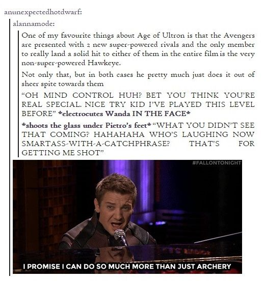 Hawkeye is awesome. Deal with it.