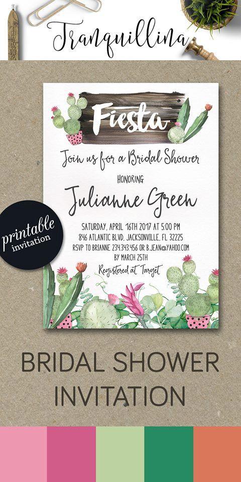 Fiesta Bridal Shower Invitation Printable Cactus Mexican Invite Succulent