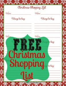 FREE printable Christmas Shopping List Make your list, check it twice, then come to Annual Ladies Day Out, Holiday Edition for one-stop shopping with LOCAL businesses!  Dec. 14, 2013 at Portland Doubletree Lloyd Center