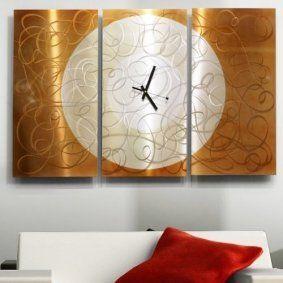Large Silver & Copper Contemporary Metal Hanging Wall Clock - Modern Metal Wall Art Sculpture - Autumn Moon Clock By Jon Allen - 38-inch
