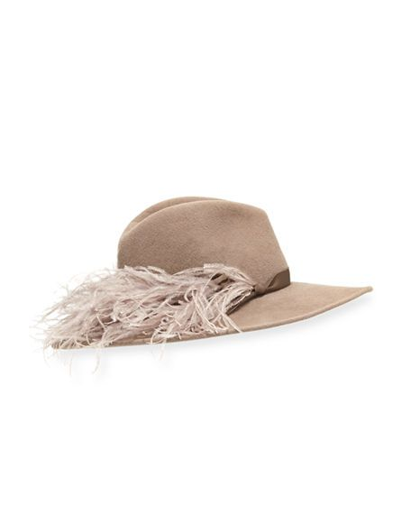 Gigi Burris Jeanne Felt Fedora Hat w  Feather Trim  c1453a6a5132