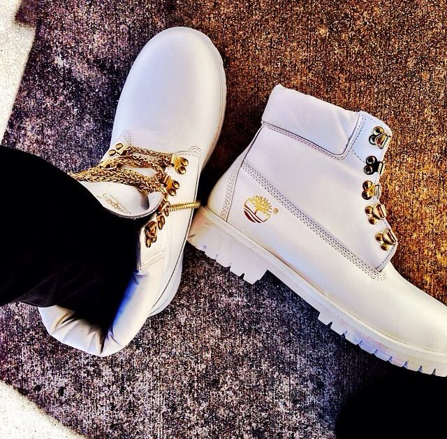 White & Gold Chain Timberlands