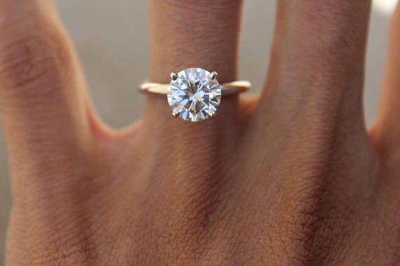 GIA 2.00 Carat Diamond Solitaire Engagement Ring Platinum, Round Solitaire Rings, Diamond Engagement