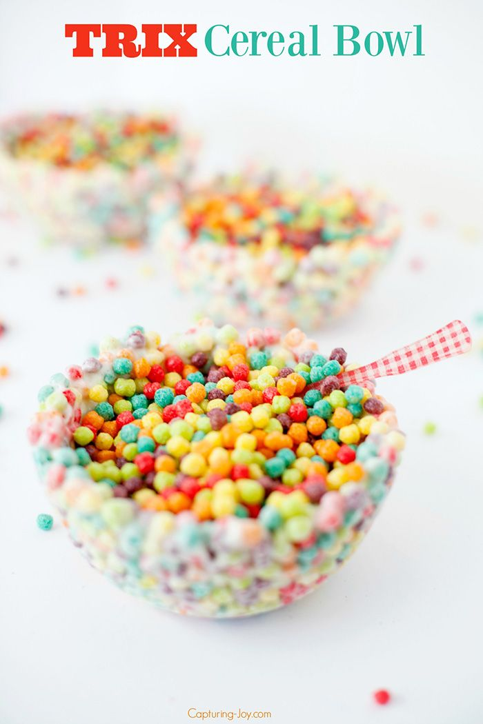 Trix Cereal Bowl on National Cereal Day!  A fun treat your kids will love to make with you!