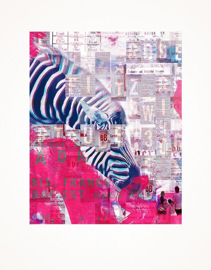 Small World Zebra Print 41x51 $120 Lindsay blamey
