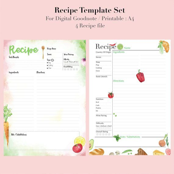 Recipe Binder Recipe Book For Digital Download Recipe Etsy In 2021 Recipe Book Binder Recipe Book Recipe Book Templates