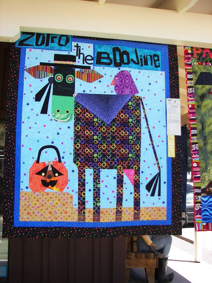 Zorro the Boovine, 2013 Sisters Quilt show. Variation of The Purple cow pattern by Mary Lou Weidman & Melanie mcFarland