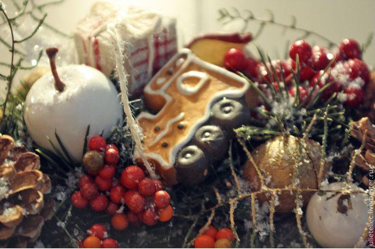 Купить Новогодний венок - новогодний венок, рождество, подарок, украшение дома, венок на дверь, оранжевый