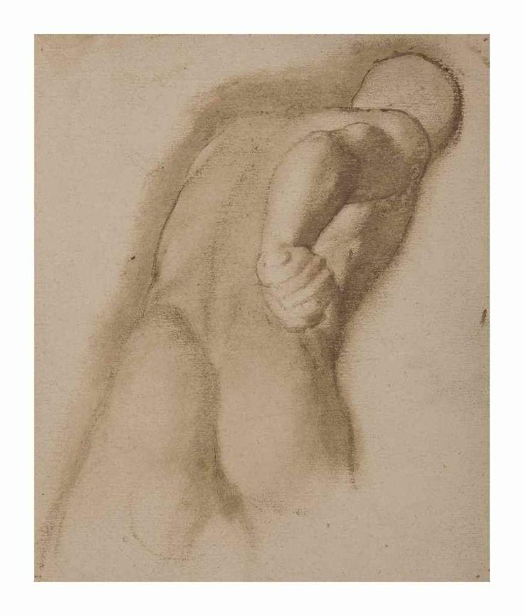 """Edgar Degas (1834-1917) Étude d'après Agasias d'Éphèse, """"Gladiateur Borghèse""""  avec le cachet 'ATELIER ED. DEGAS' (au revers; Lugt 657) broux de noix sur papier 19.9 x 16.8 cm. Exécuté vers 1855  stamped 'ATELIER ED. DEGAS' (on the reverse; Lugt 657) walnut stain on paper 7 7/8 x 6 5/8 in. Executed circa 1855"""