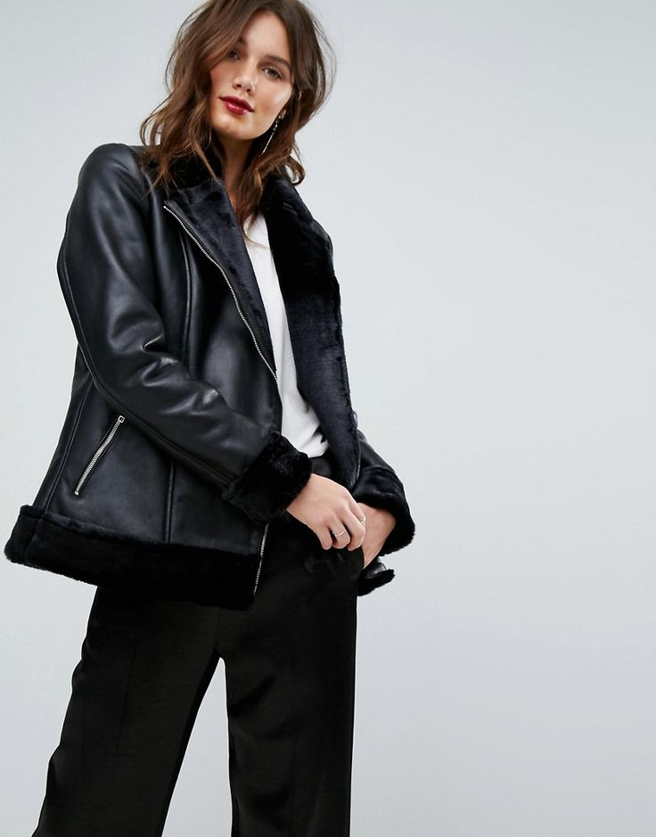 Y.A.S Leather Aviator with Faux Fur Lining - Black