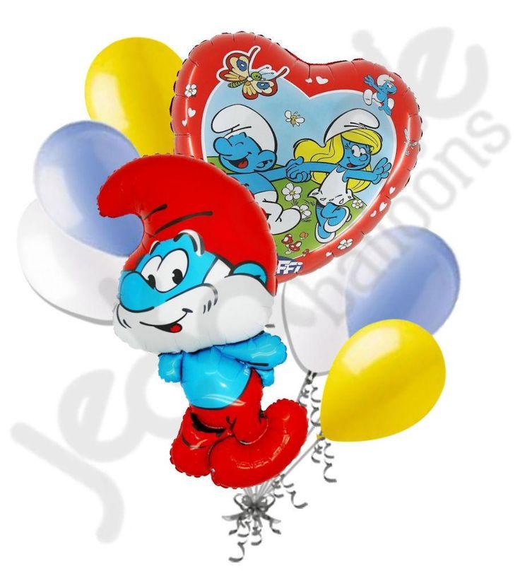 Cartoon Papa Smurf Balloon Bouquet Smurfs Happy