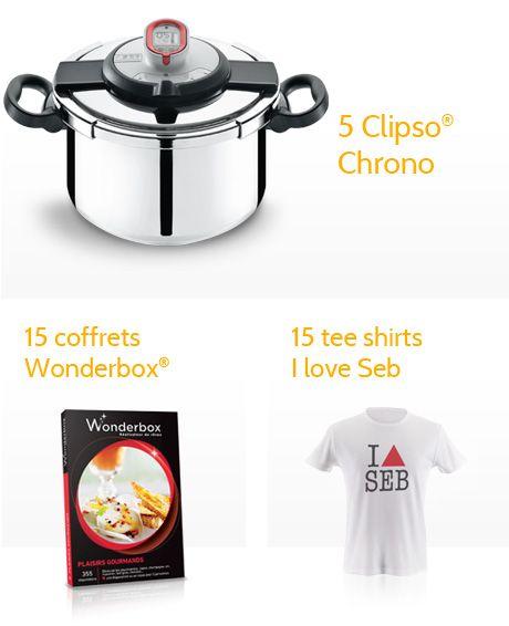A gagner : 5 Clipso Chrono, 15 coffrets Wonderbox et 15 tee shirts I love Seb