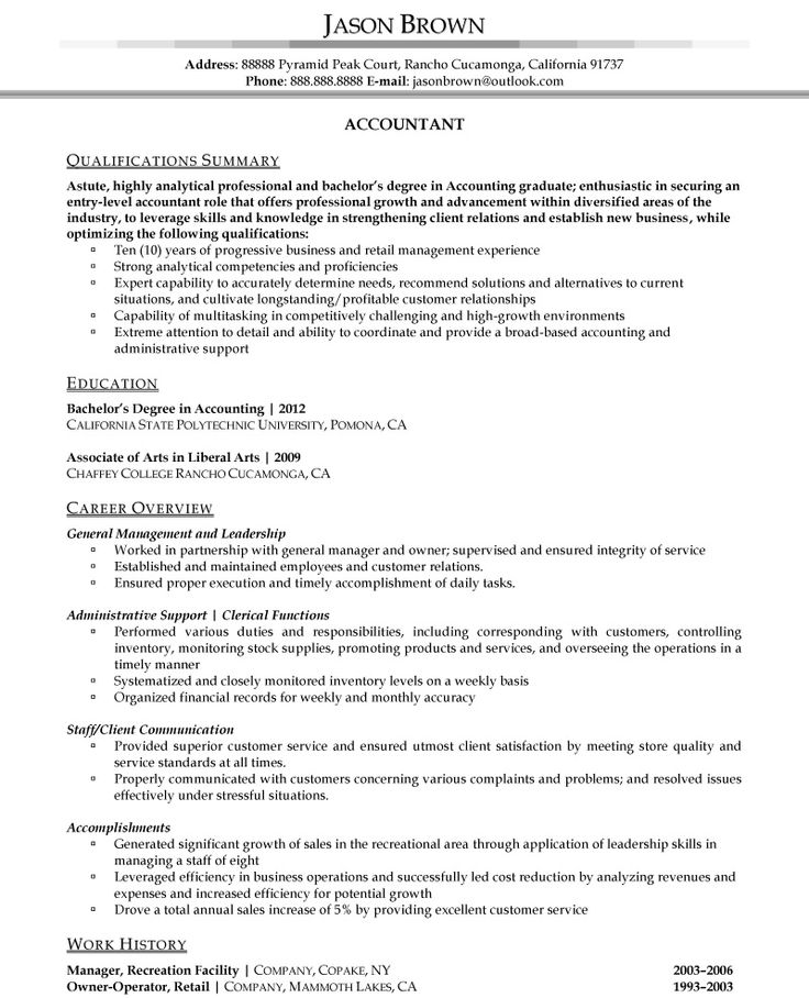 44 best Resume Samples images on Pinterest Resume examples, Best - resume sample for accountant