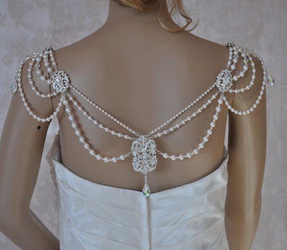 Wedding dress shoulder bridal epaulettes back necklace for Bracelet for wedding dress