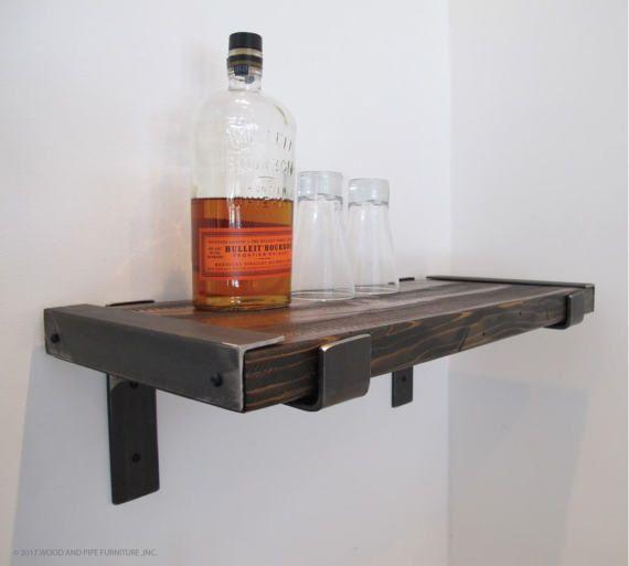 Estanterías industriales, estanterías industriales modernos, rústico estante, estante de madera reciclado, bar estantes, estantes de cocina