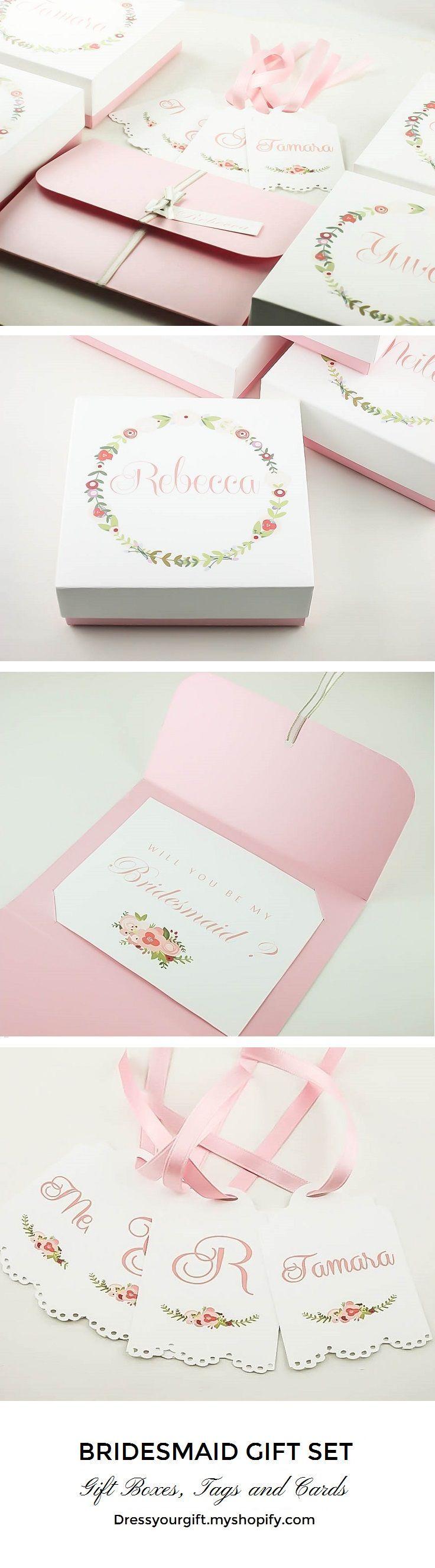Customize your Pink Bridesmaids gifts Bridesmaid Gift Set Bridesmaid thank you gift, pink Bridal Shower cards and tags. #demoiselledhonneur #damadehonor #brautjungfern #trauzeugin Dama de honor caja, Demoiselle honneur cadeau, Brautjungfer fragen, Trauzeugin geschenk