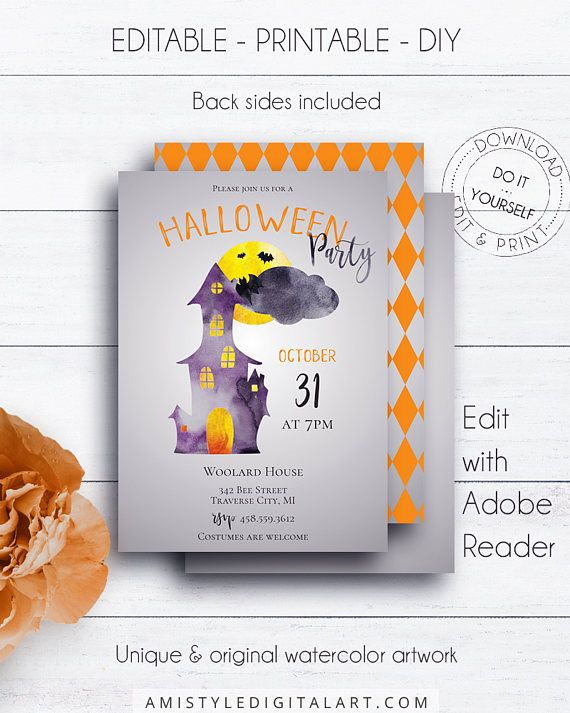 Halloween Castle Party invitation with watercolor elements in grey and orangeThis scary halloween printable invitation listing is for an instant download EDITABLE PDF so you can download it right away, DIY edit and print it at home or at your local copy shop by Amistyle Digital Art on Etsy