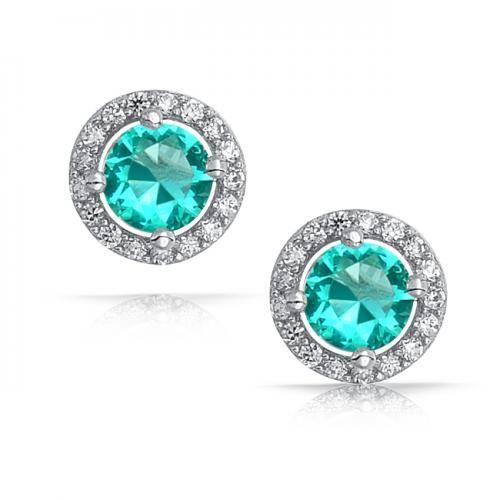 March Birthstone Sterling Silver Aquamarine Round Stud Earrings