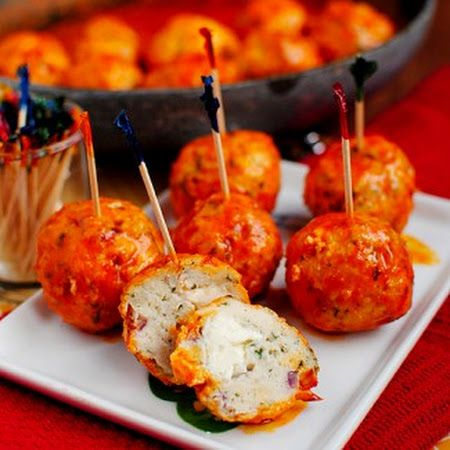 Buffalo Chicken Meatballs. 3/4 cup panko bread crumbs. 1/3 cup + 1/2 cup Louisiana-style hot sauce, divided. 1/4 cup chopped celery. 1 egg white. 1 lb ground chicken. Reduced-fat blue cheese or ranch salad dressing, optional.  Preheat 400°. In a large bowl, combine bread crumbs, 1/3 cup hot sauce, celery & egg white. Add chicken. Mix lightly but thoroughly. Shape into balls. Place on baking pan. Bake 20-25 mins til cooked through.