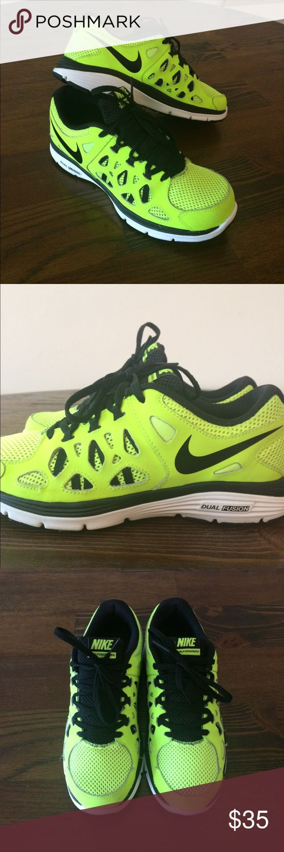 Nike Dual Fusion Run 2 Nike Dual Fusion Run 2: Size 5.5 youth but will fit Women's 7 or 7.5. These shoes are in great condition and very comfortable. Only worn a handful of times.Good Condition. Well worth the price. Serious Inquiries only.  Please read d