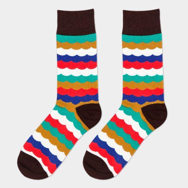 2016 Summer Fashion Mens Cotton Socks Colorful Striped Jacquard Art Socks Hit Color Dot Long Wedding Socks Men's Dress Sock