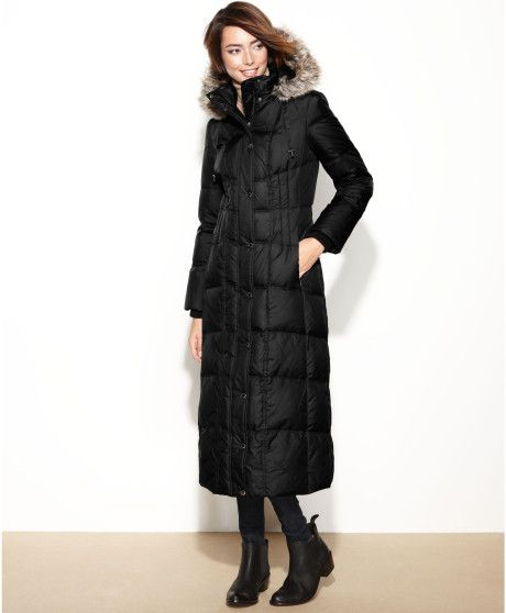 london fog winter coats for women | London Fog Hooded Fauxfurtrim Maxi Puffer in Black - Lyst