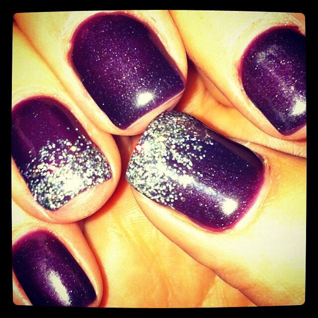 dark purple with silver on two tips my nails
