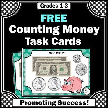 free counting money dollars coins task cards games activities