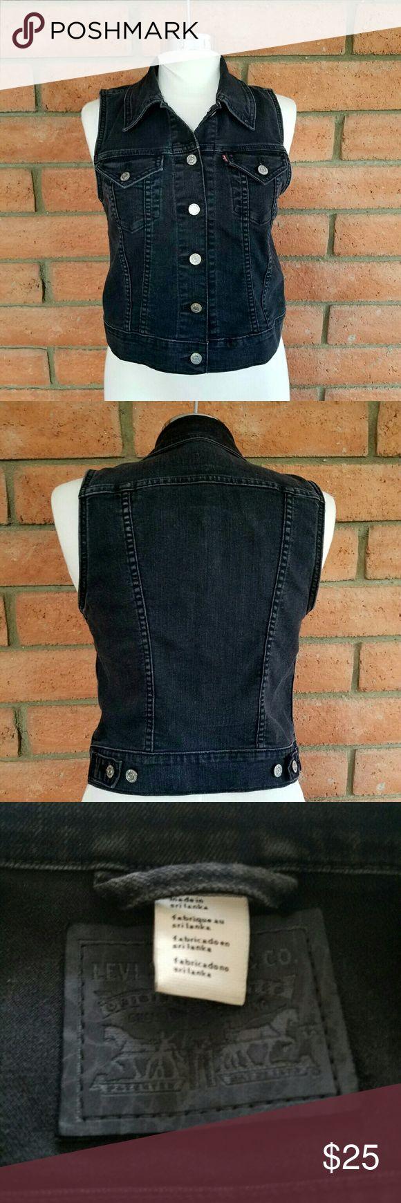 Levis trucker denim vest Black levis trucker denim vest in good used condition. Levis Jackets & Coats Vests