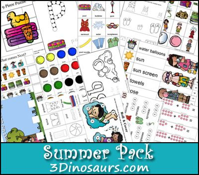 Free Summer Pack for ages 2 to 8 - 3Dinosaurs.com