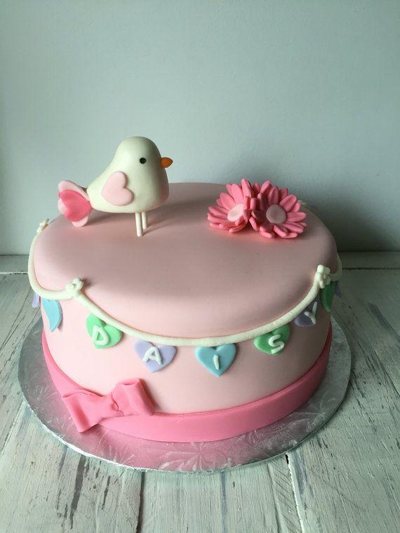 Pink Bird Cake Topper by VanillaRoom on Etsy