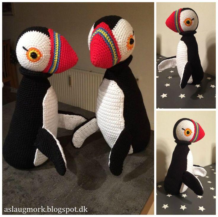 Hæklet Kay Bojesen søpapegøje - Crochet Puffin. Soooo cute
