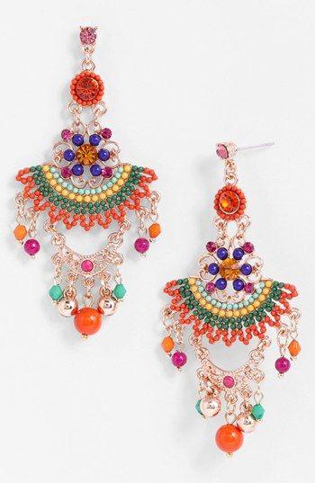 Colorful chandelier earrings.