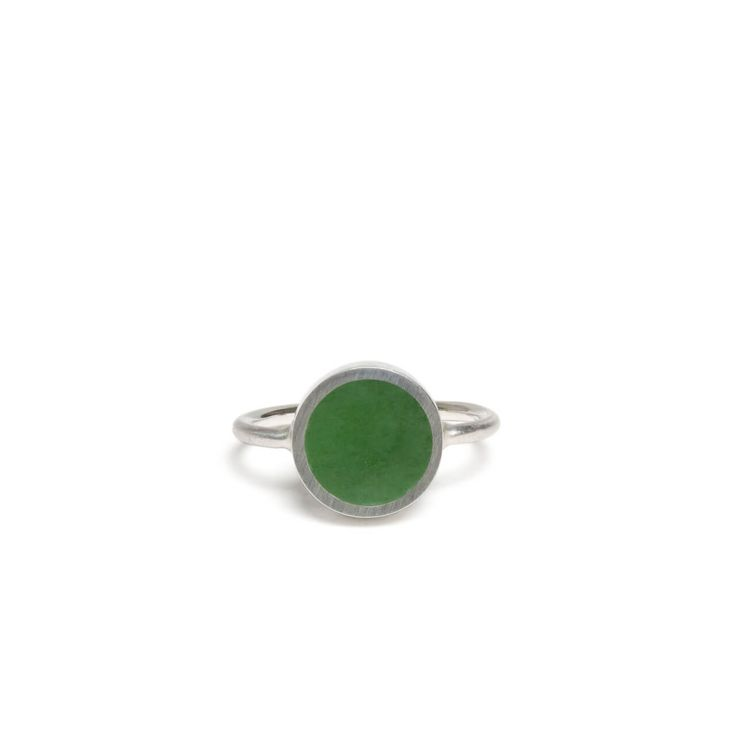 New Zealand Jade Disc Silver Ring - Size J