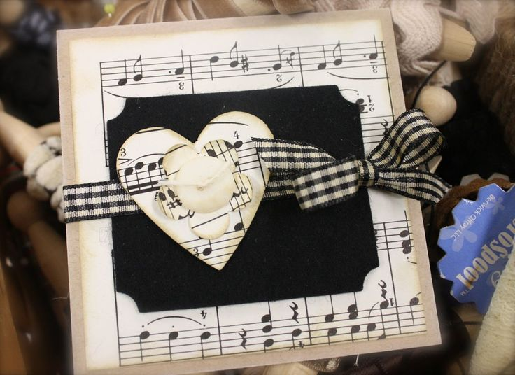 A Valentine card in black and white sheet music