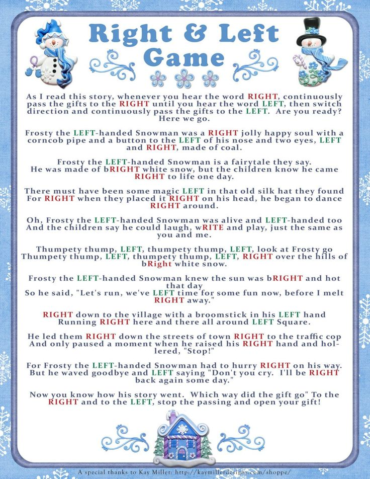 Christmas Party Contest Ideas Part - 19: Instant Download WINTER RIGHT And LEFT Story/Game, Christmas Party Game,  Cookie Exchange Game, Baby Or Bridal Shower Game,diy Printable