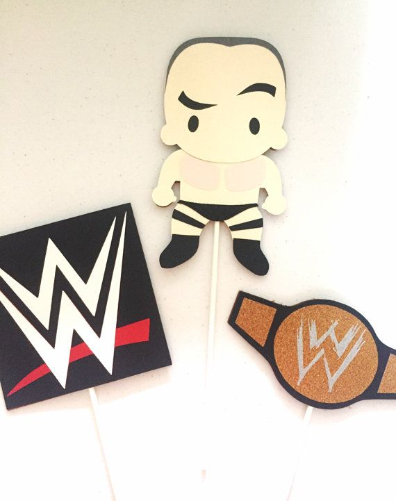 WWE Wrestling Centerpieces - Set of 3 | Wrestler, WWE Logo and championship belt centerpiece sticks | WWE theme birthday | Wrestling party!