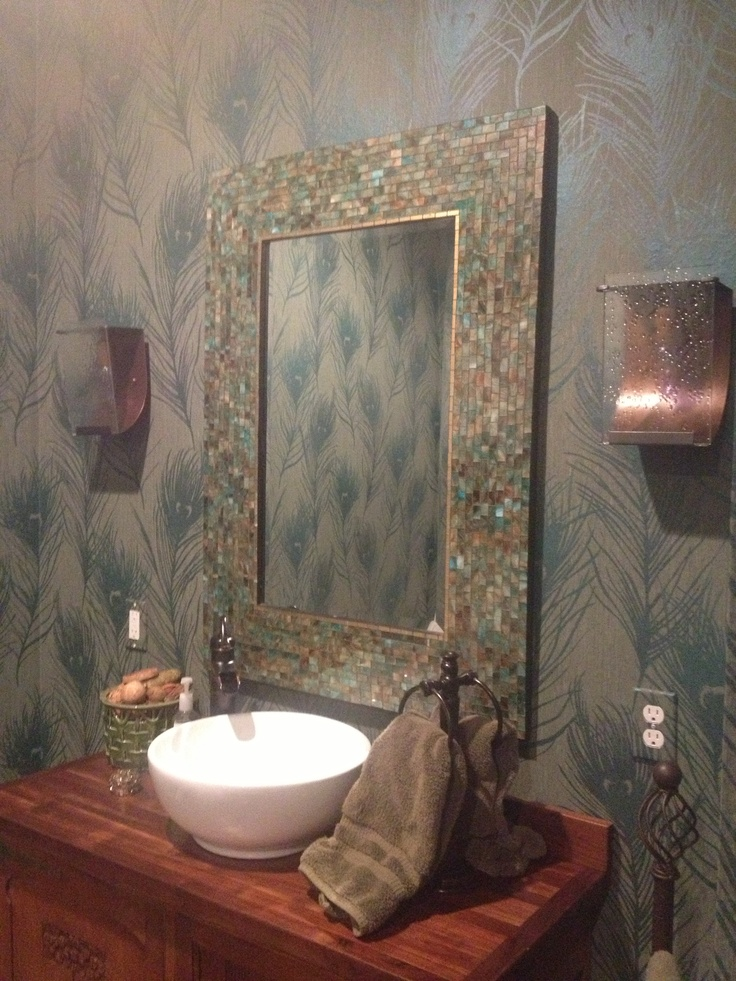 Peacock Themed Bathroom With Wallpaper And Mosaic Mirror