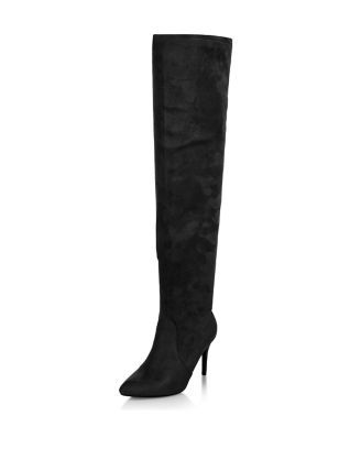 Black Pointed Over The Knee Heeled Boots | New Look